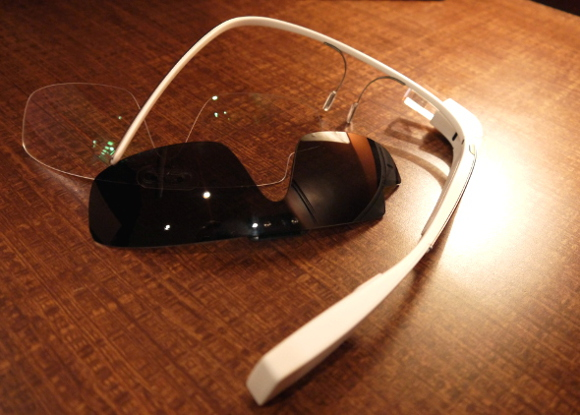 Google Glass with lens inserts