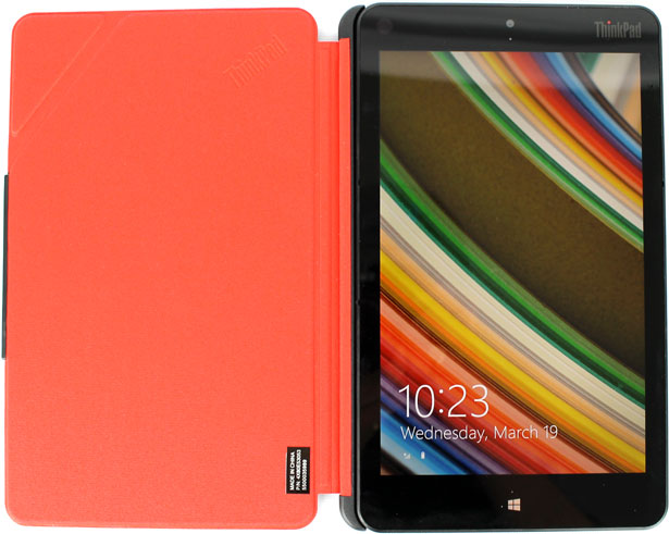 The ThinkPad 8 tablet with the QuickShot Cover, which gives you quick access to the 8-inch tablet's 8MP camera.