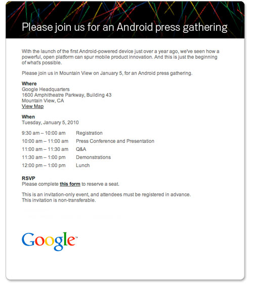 Google Plans Android Event, Nexus One Launch Approaching