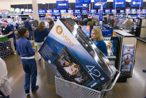 Walmart scaling back electronics department to make room for fishing poles - Television but solde ...