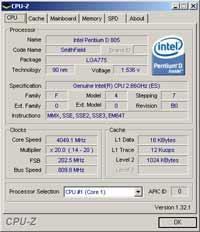 Pentium D 805 Overclocking