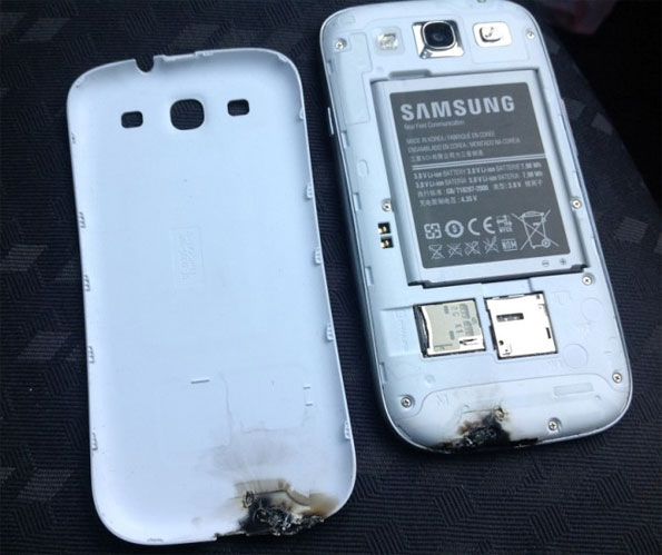 burned Samsung Galaxy S III