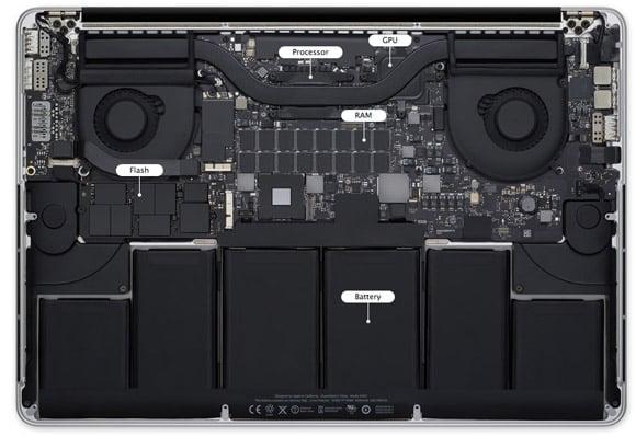 Macbook Pro with Retina Display, bottom, open
