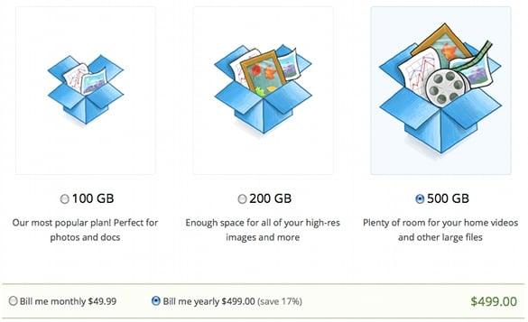 Dropbox 500GB option