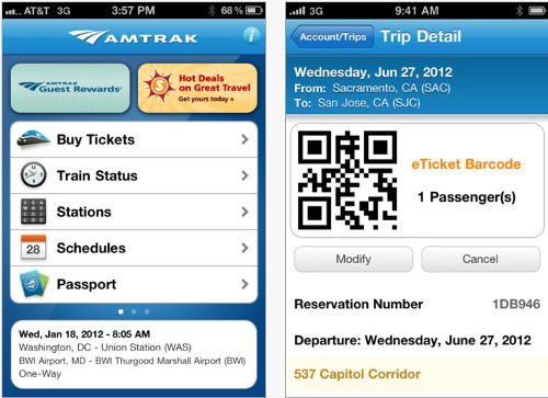 Amtrak eTicket iPhone App