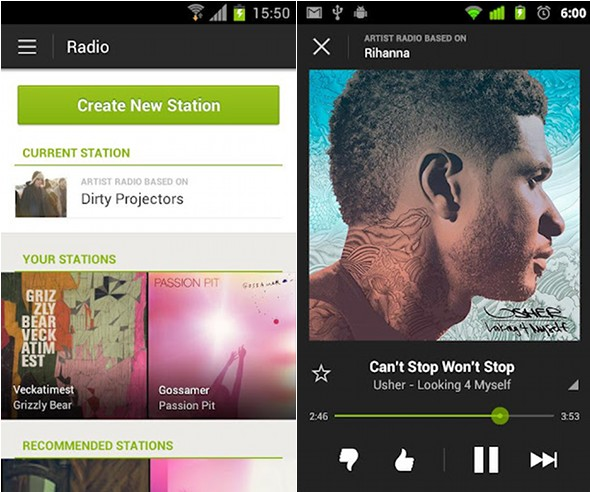 The Spotify Android app
