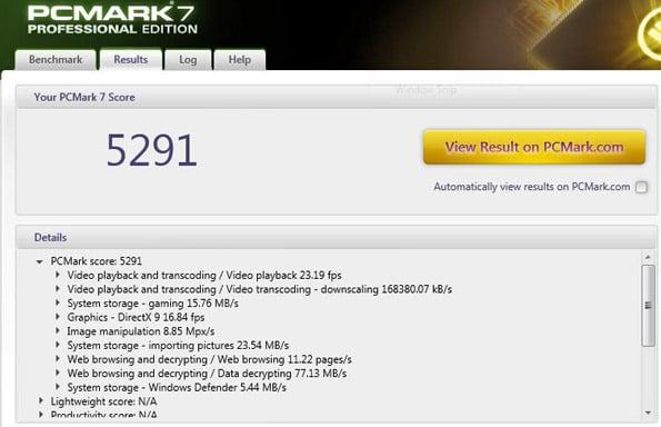 Lenovo ThinkPad Carbon PCMark 7 Results
