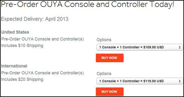 Ouya Preorder Page