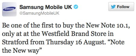 Samsung Mobile UK tweet