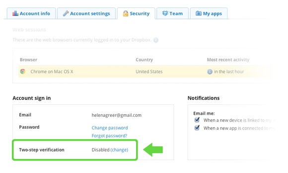 Dropbox two-step authentication