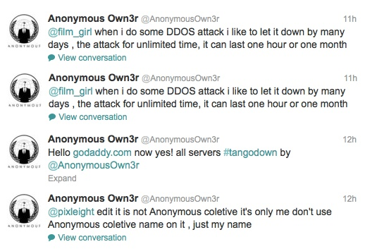 Anonymous GoDaddy attack