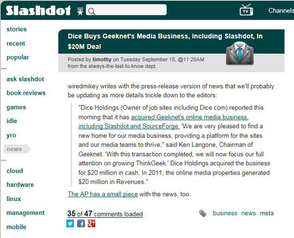 Slashdot Acquired By Dice