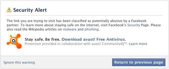 Avast Facebook Warning