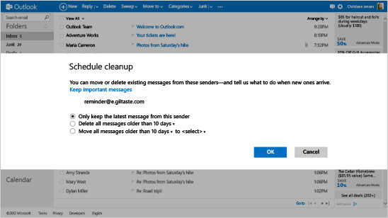 Outlook.com Schedule Cleanup