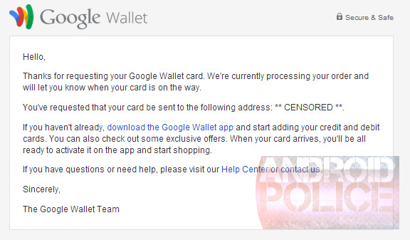 Google Wallet email