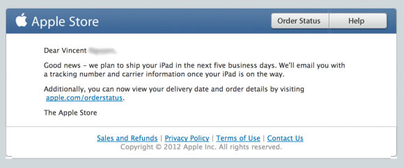 Apple Shipment Notice