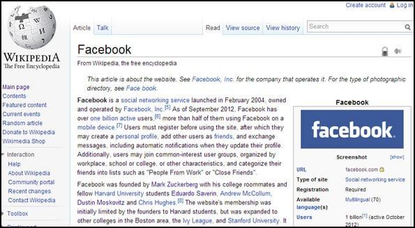 Wikipedia Facebook