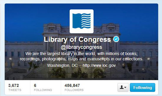 Twitter Page For U.S. Library of Congress