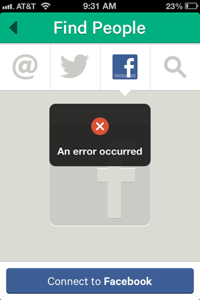 Error Message For Facebook Friends On Vine