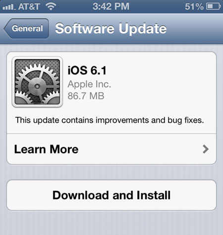 Install page for iOS 6.1