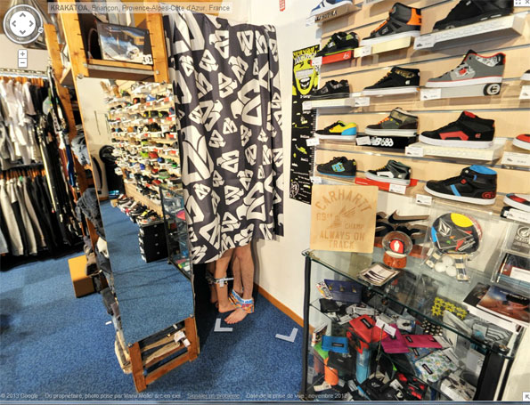 Ski Shop dressing room, Google Street View