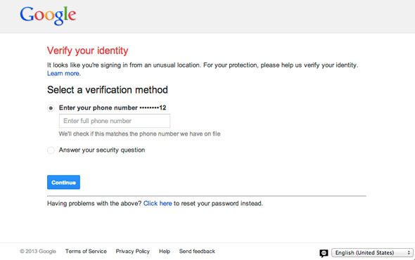 Google Password Security Page