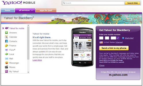 Yahoo! Blackberry App Website