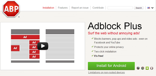 Adblock Plus for Android on website