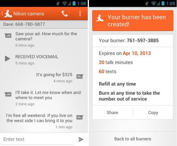 Burner Android app
