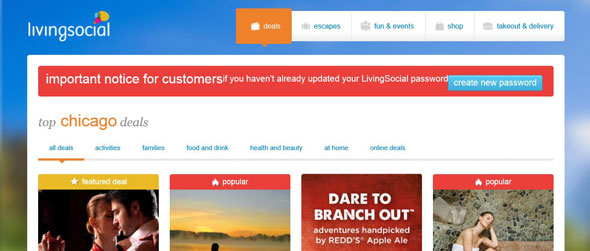 Main Page Notice For LivingSocial Users To Change Their Passwords