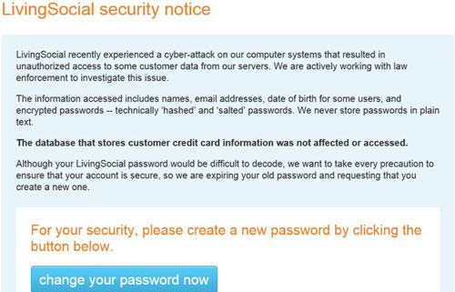 The LivingSocial Security Notice Alerting Users To A Website Break-In