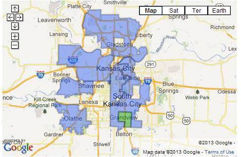 Map of Google Fiber in Kansas City, Mo.