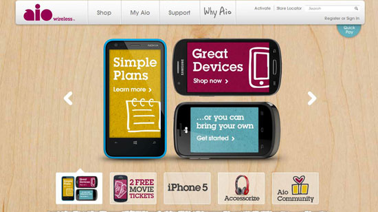 Aio Wireless Service Main Page