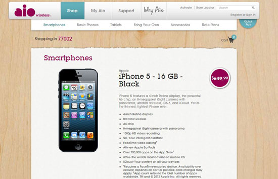 iPhone 5 at Aio Store Online