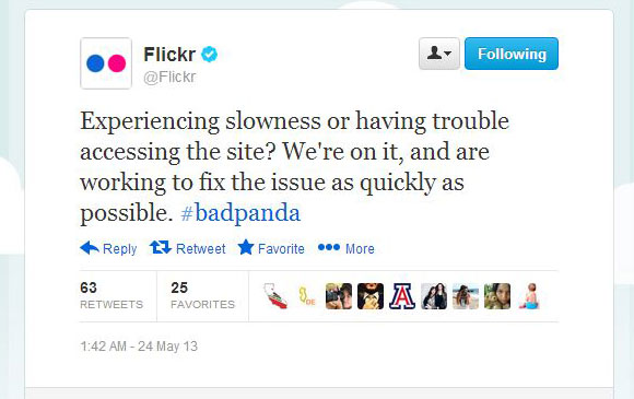 Flickr Tweet Apologizing For Downtime