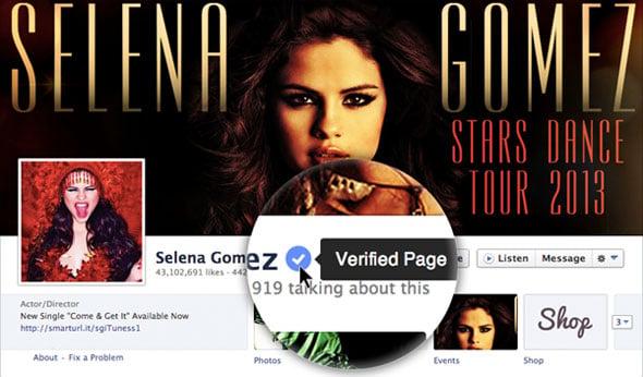 Facebook Verified Selena Gomez