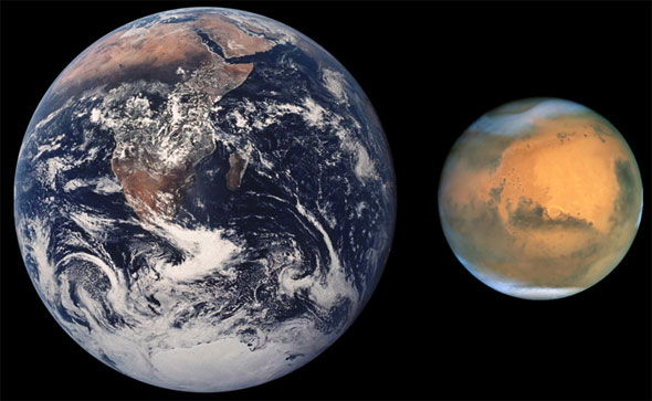 Earth and Mars