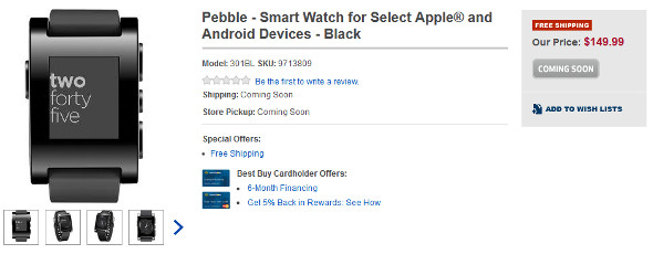 Pebble smartwatch at Best Buy