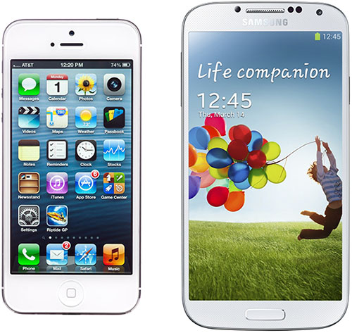 Apple iPhone 5 and Samsung Galaxy S4