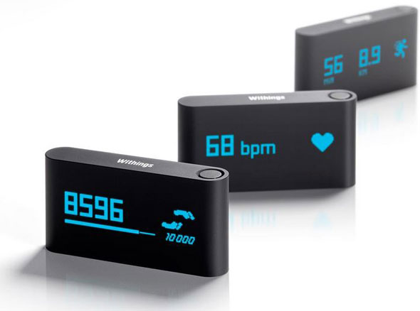 The Withings Pulse activity monitor, which tracks your heart rate, steps, sleep, distance travelled, and elevation.