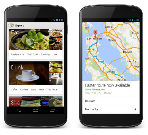 Google Maps for tablets with cards and new navigation