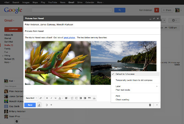 Gmail update that includes new full screen compose window