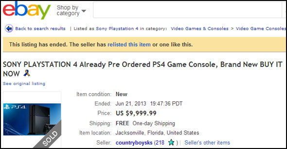 PlayStation 4 on eBay
