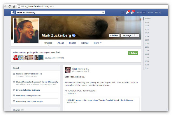 Zuckerberg Facebook hacked