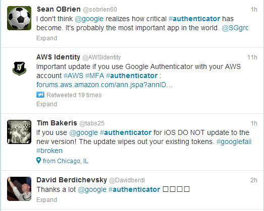 Twitter Feed of User Complaints About Google Authenticator App for iPhone