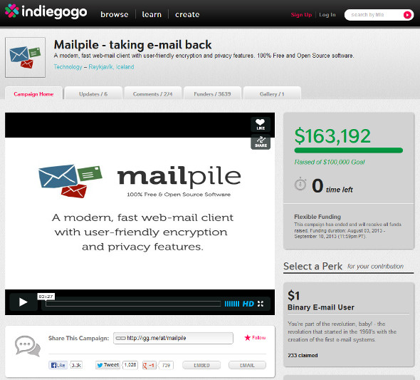 MailPile Indiegogo PayPal