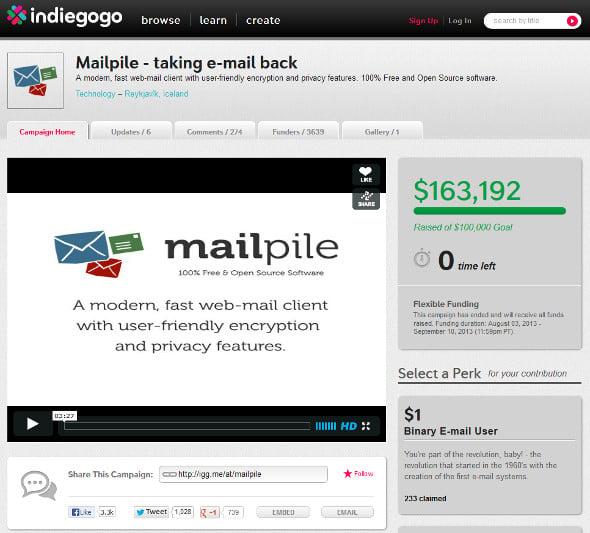 MailPile Indiegogo PayPal