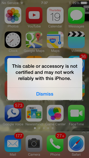 Apple iOS 7 blocks unauthorized Lightning cables