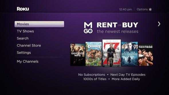 M-GO streaming service on Roku