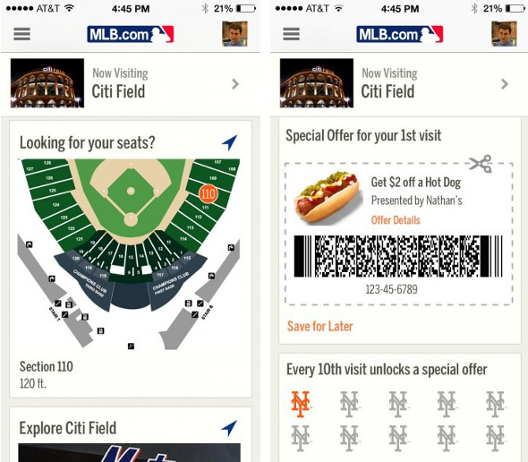 Major League Baseball's At the Ballpark app for iOS with iBeacon